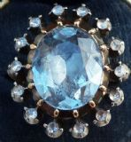 Fabulous georgian 6.75ct oval cut aquamarine and rose diamond cluster 18ct vintage antique ring